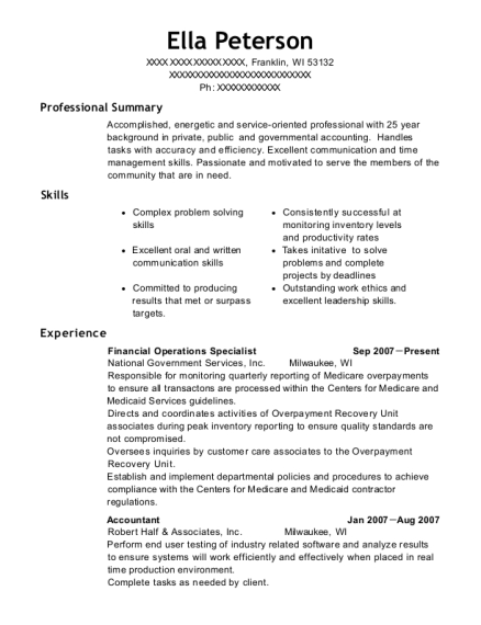 Financial Operations Specialist resume format Wisconsin