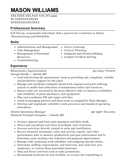 Maintenance Superintendent resume example Wisconsin