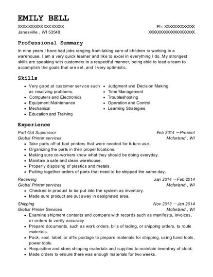 Part Out Supervisor resume example Wisconsin