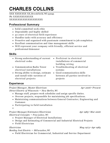 Project Manager resume format Wisconsin