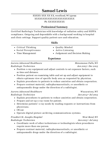 Radiologic Technician resume example Wisconsin
