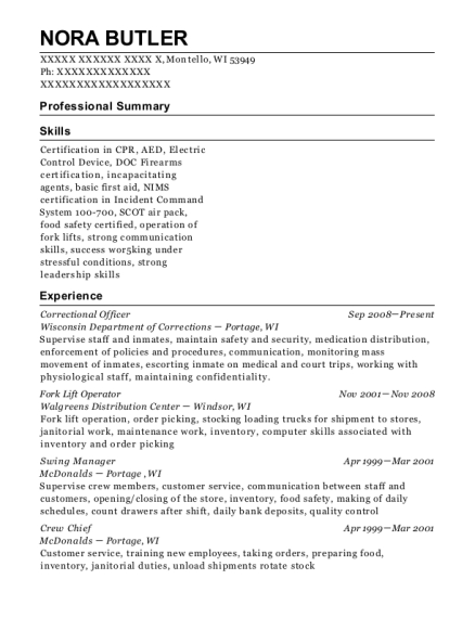 Correctional Officer resume format Wisconsin