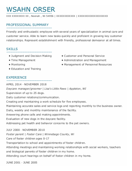 Groomer resume template Wisconsin
