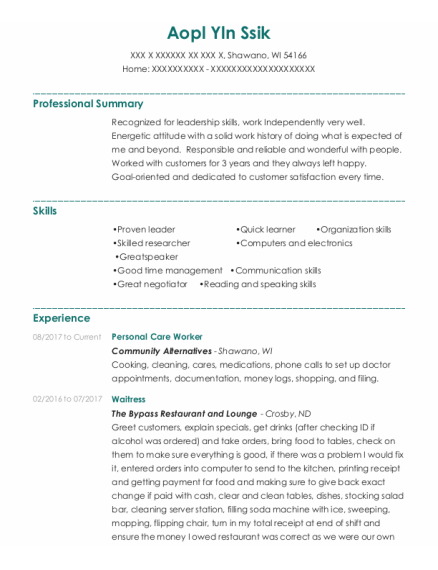 Personal Care Worker resume format Wisconsin