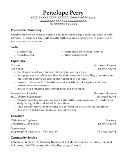 Hostess resume sample Wisconsin