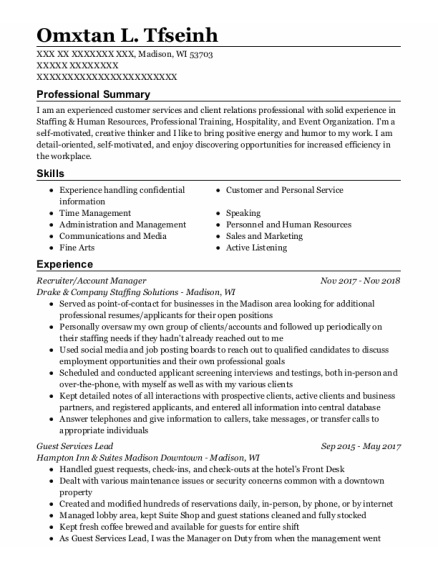 RECRUITER resume format Wisconsin