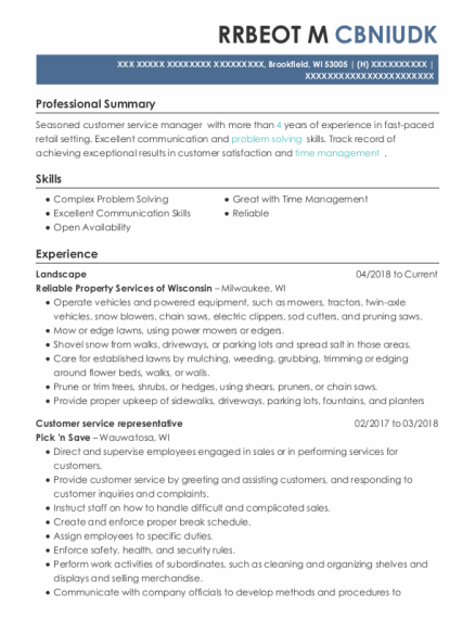 Landscape resume example Wisconsin