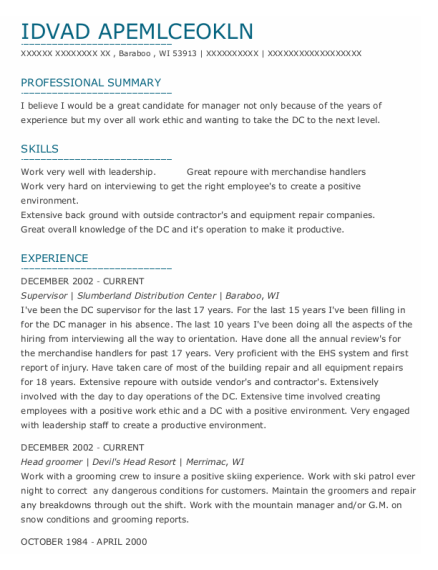 Supervisor resume sample Wisconsin