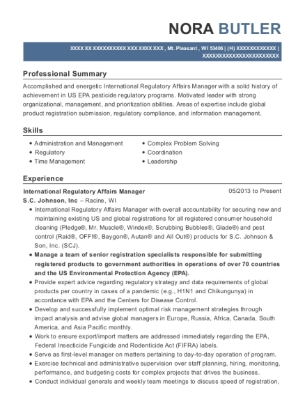 International Regulatory Affairs Manager resume example Wisconsin
