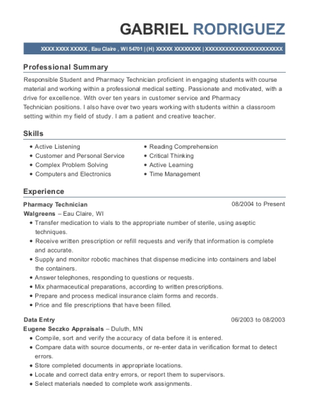 Pharmacy Technician resume example Wisconsin