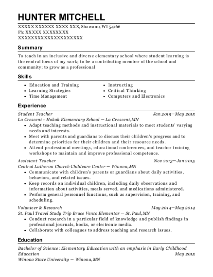 Student Teacher resume example Wisconsin