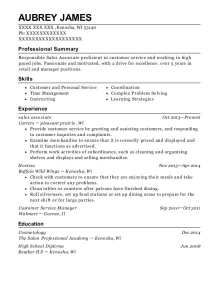 Sales Associate resume example Wisconsin