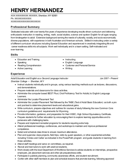 Adult Education and English as a Second Language Instructor resume format Wyoming
