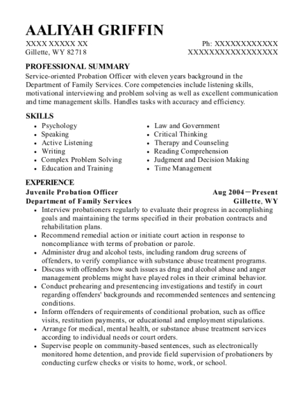 Juvenile Probation Officer resume format Wyoming
