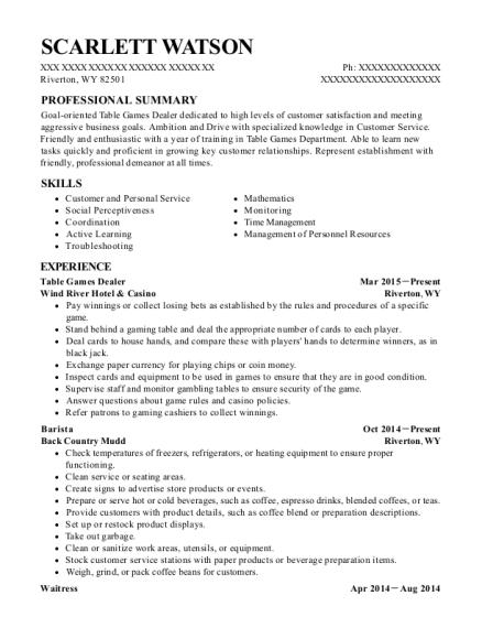 Table Games Dealer resume template Wyoming