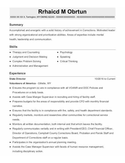 Program Director resume template WYOMING