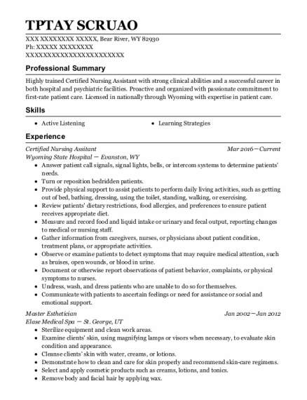 Certified Nursing Assitant resume template Wyoming