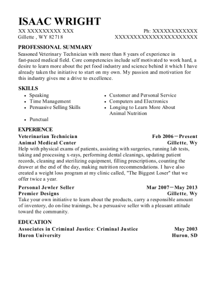 Veterinarian Technician resume format Wyoming