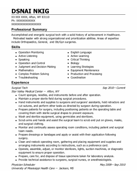 Surgical tech resume format Wyoming