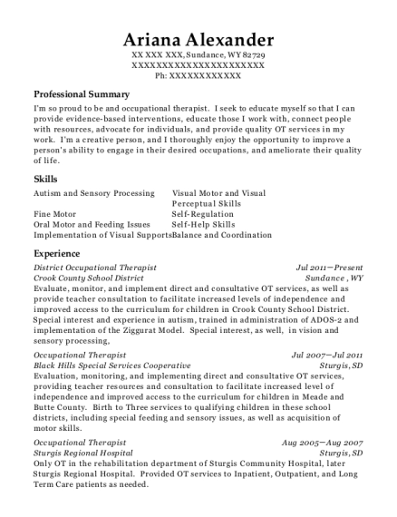 District Occupational Therapist resume example Wyoming