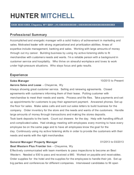 Sales Manager resume example Wyoming
