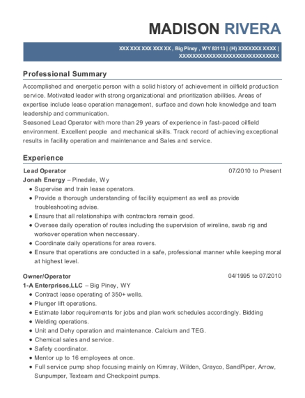 Lead Operator resume format Wyoming