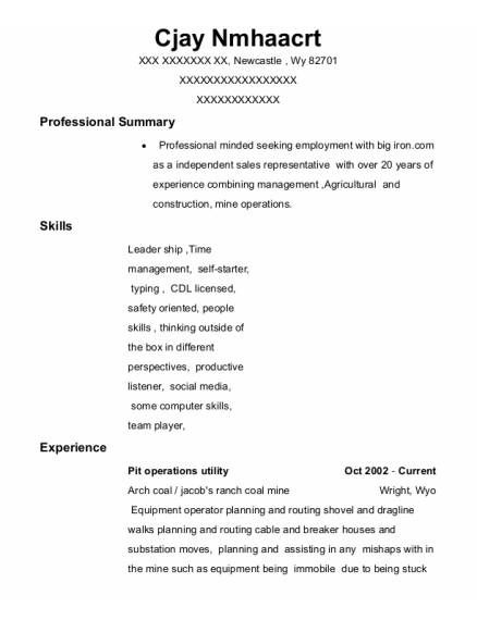 Equipment Operator resume format Wyoming