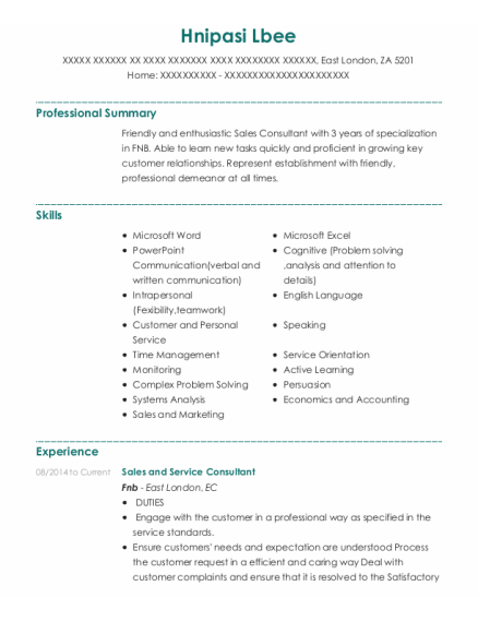 Sales and Service Consultant resume format ZA